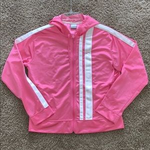 Pink Nike Track Jacket with hood and white stripes